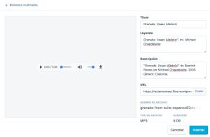 Editar descripción de archivo de audio
