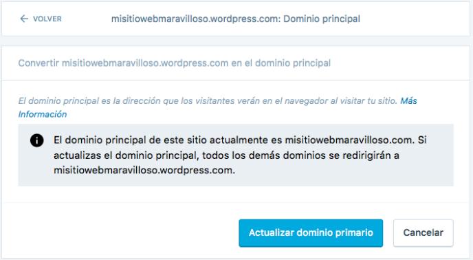 actualizar dominio