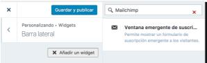Añadir Widget de Mailchimp